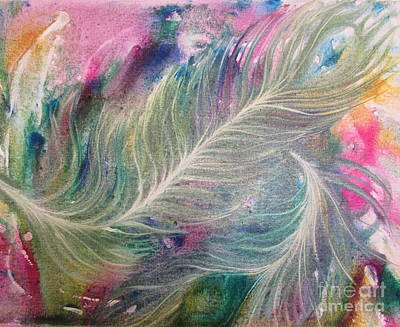 Painting - Peacock Feathers Pastel by Denise Hoag