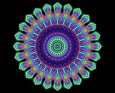Digital Art - Peacock Fractal Flower 5 by Ruth Moratz