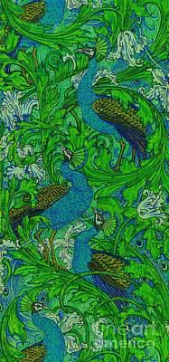 Digital Art - Peacock Garden Victorian Art Nouveau Print by Peter Ogden