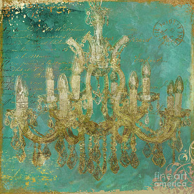 Blue And Gold Painting - Peacock Gold Chandelier by Mindy Sommers