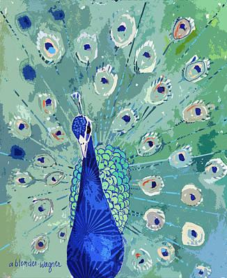 Peacock Digital Art - Peacock In Bloom by Arline Wagner