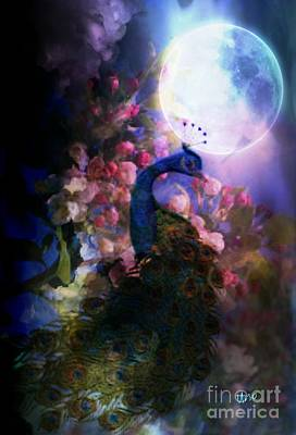 Digital Art - Peacock In Moonlight by Maria Urso