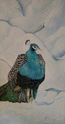 Painting - Peacock In Snow by Joan Mansson