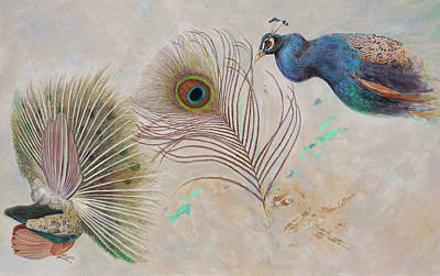 Painting - Peacock In Three Views by Nancy Lee Moran