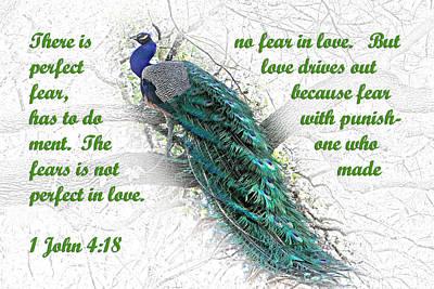 Religious Art Digital Art - Peacock In Tree 1john 4 V 18 by Linda Phelps