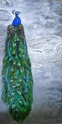 Peacock In Winter Art Print