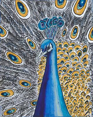 Kenyan Painting - Peacock by Ken Nganga