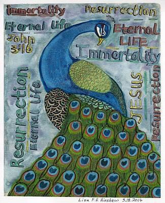 John 3.16 Painting - Peacock  by Lisa Hinshaw