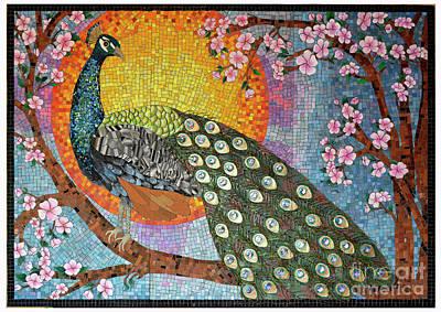 Mixed Media - Peacock Mosaic by Sandra Wallace