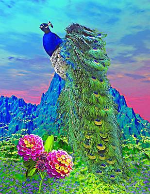 Peacock On Mountain Art Print