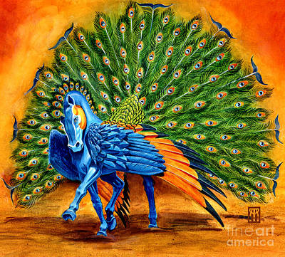 Extinct And Mythical Mixed Media - Peacock Pegasus by Melissa A Benson