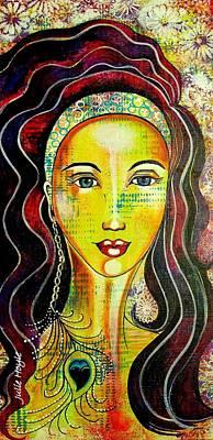 Mixed Media - Peacock Princess by Julie Hoyle
