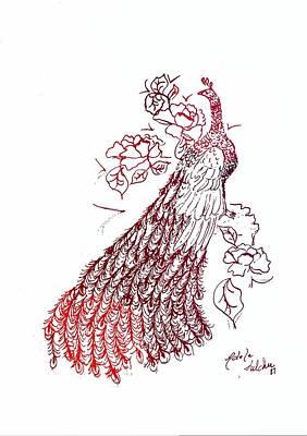 Floral Digital Art Drawing - Peacock Sketch 1 by Adele Fulcher
