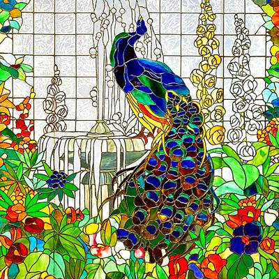 Digital Art - Peacock Stained Glass by Marianne Dow