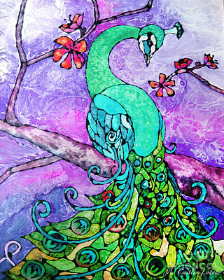 Peacock Stained Glass Watercolor Print by Caitlin Lodato