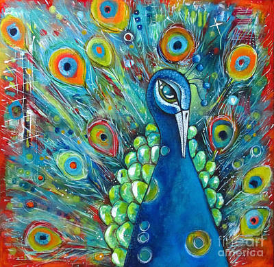 Intuitive Art Painting - Peacock by Stephanie Gerace