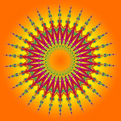 Peacock Sun Mandala Fractal Art Print