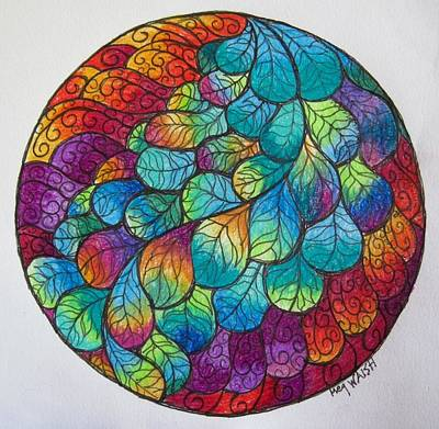 Drawing - Peacock Tail Mandala by Megan Walsh