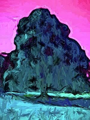 Digital Art - Peacock Tree And Pink Sky by Jackie VanO