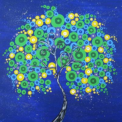 Peacock Tree Of Life Art Print by Cathy Jacobs