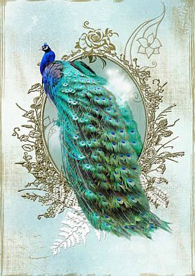 Digital Art - Peacock Turquoise Vintage Shabby Chic by ReadyForYoga Online-Shop