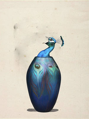 Digital Art - Peacock Vase by Keshava Shukla