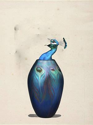 Digital Art - Peacock Vase by Keshava Shukla
