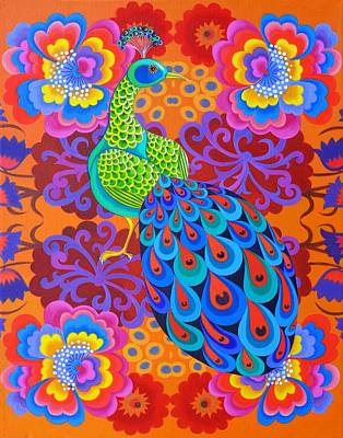 Bright Colours Painting - Peacock With Flowers by Jane Tattersfield
