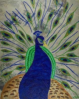 Decoupage Painting - Eye Of The Peacock by Carrie Rittner