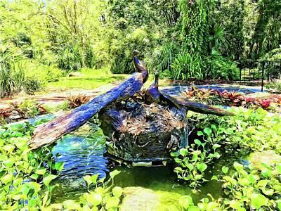 Photograph - Peacocks In The Garden by Alice Gipson