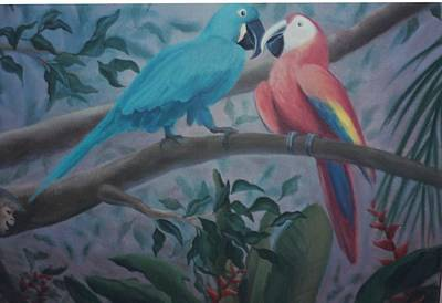 Painting - Peacocks In The Jungle by Suzn Art Memorial