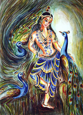 Mystical Landscape Painting - Peacocks - Lover by Harsh Malik