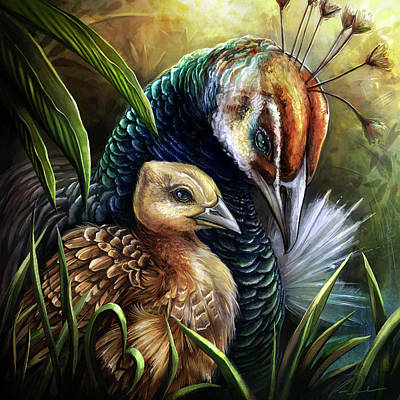 Digital Art - Peahen and chick by Cass Womack