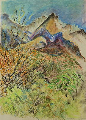 Impressionistic Landscape Drawing - Peak Impressions by Bonnie See