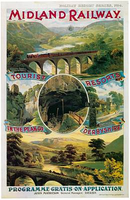 Mixed Media - Peak Of Derbyshire - Midland Railway - Retro Travel Poster - Vintage Poster by Studio Grafiikka