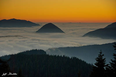 Peaks Above The Fog At Sunset Art Print