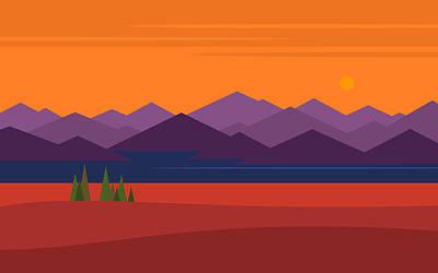 Digital Art - Peaks - Horizontal by Val Arie