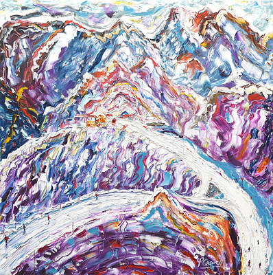 Painting - Peaks Of Meribel And Corchevel by Pete Caswell