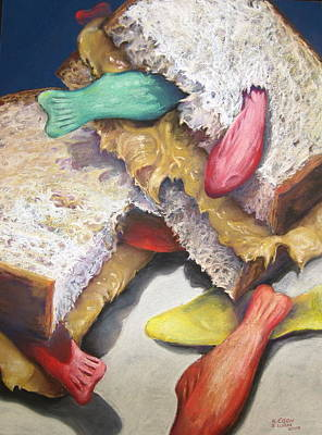 Sandwich Painting - Peanut Butter And Jelly Fish by Outre Art  Natalie Eisen