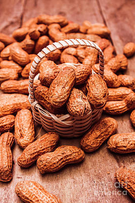 Arranges Photograph - Peanuts In Tiny Basket In Close-up by Jorgo Photography - Wall Art Gallery