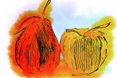 Digital Art - Pear And Apple Watercolor by Kirt Tisdale