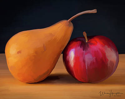 Painting - Pear And Plum 01 by Wally Hampton