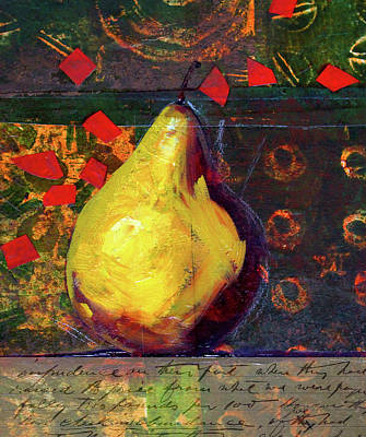 Mixed Media - Pear Collage by Nancy Merkle