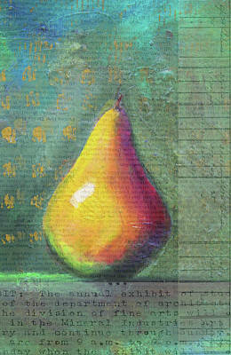 Painting - Pear Context by Nancy Merkle