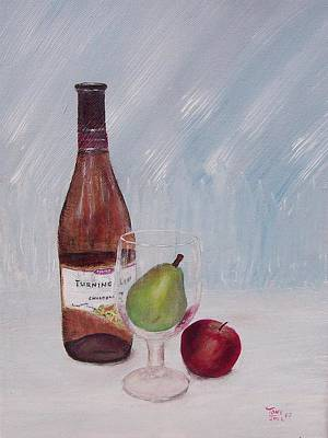Pear In Glass Art Print by Tony Rodriguez