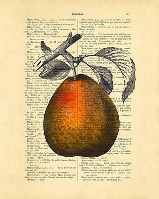 Pear Digital Art - Pear Fruit Kitchen Decor by Madame Memento
