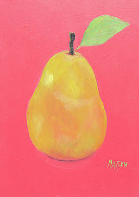 Painting - Pear On Dark Pink Background by Jan Matson