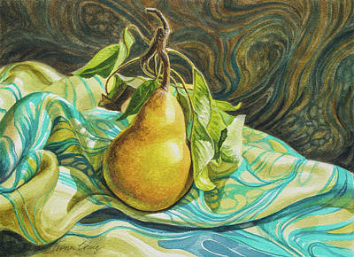 Abstract Pattern Painting - Pear On Marbled Silk by Fiona Craig