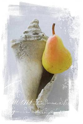 Photograph - Pear Perched On Old Seashell by Alice Gipson