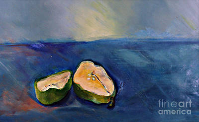 Art Print featuring the painting Pear Split by Daun Soden-Greene